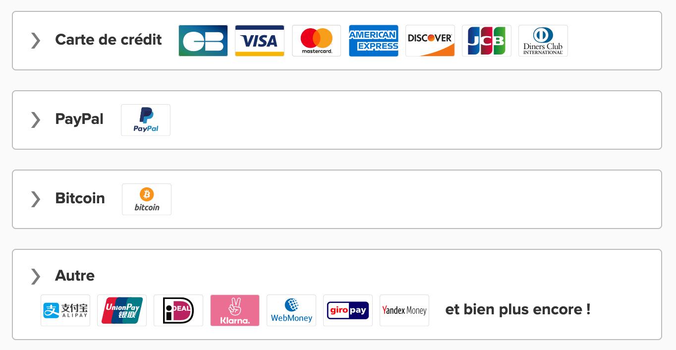 Modes paiement abonnements ExpressVPN