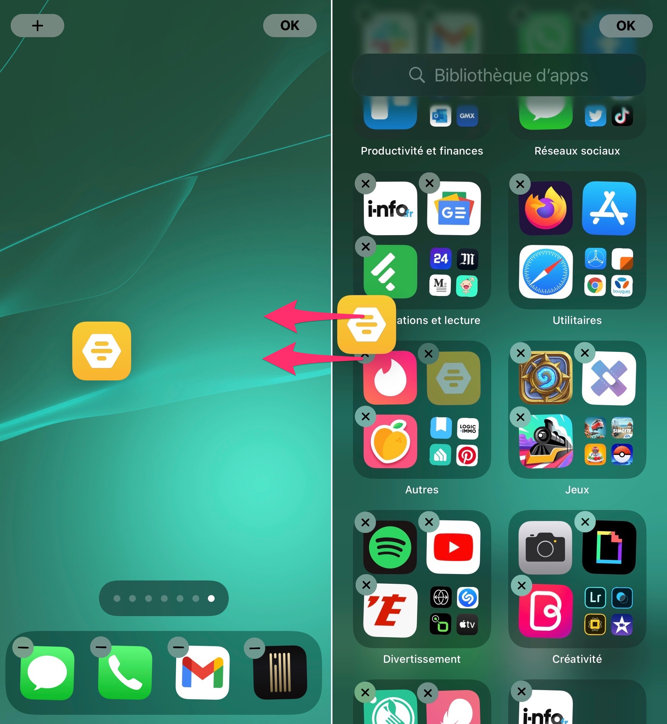 App Library et applications vers écran d'accueil