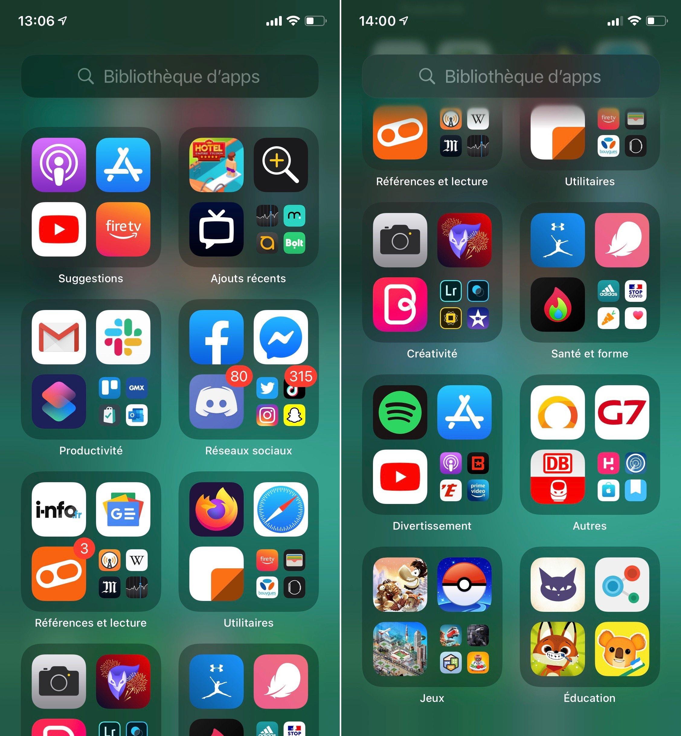 Aperçu bibliothèque d'apps