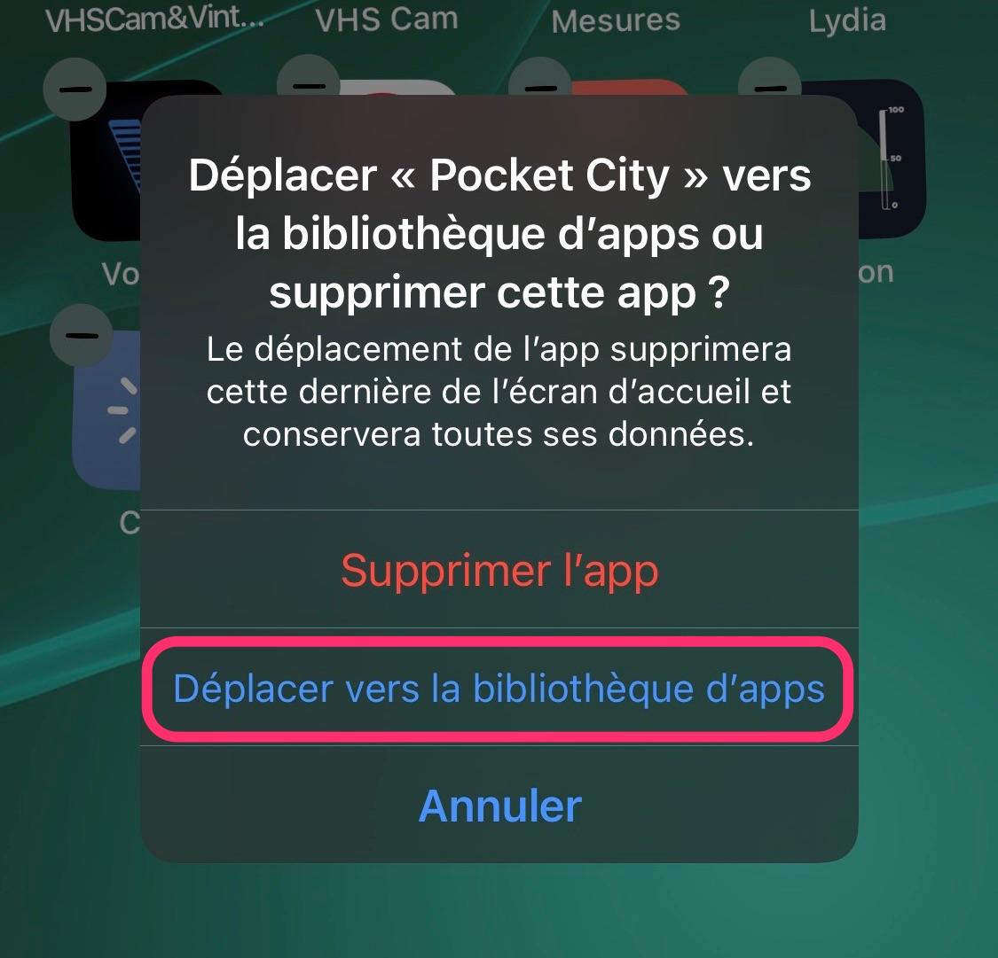 Cacher app bibliothèque d'apps