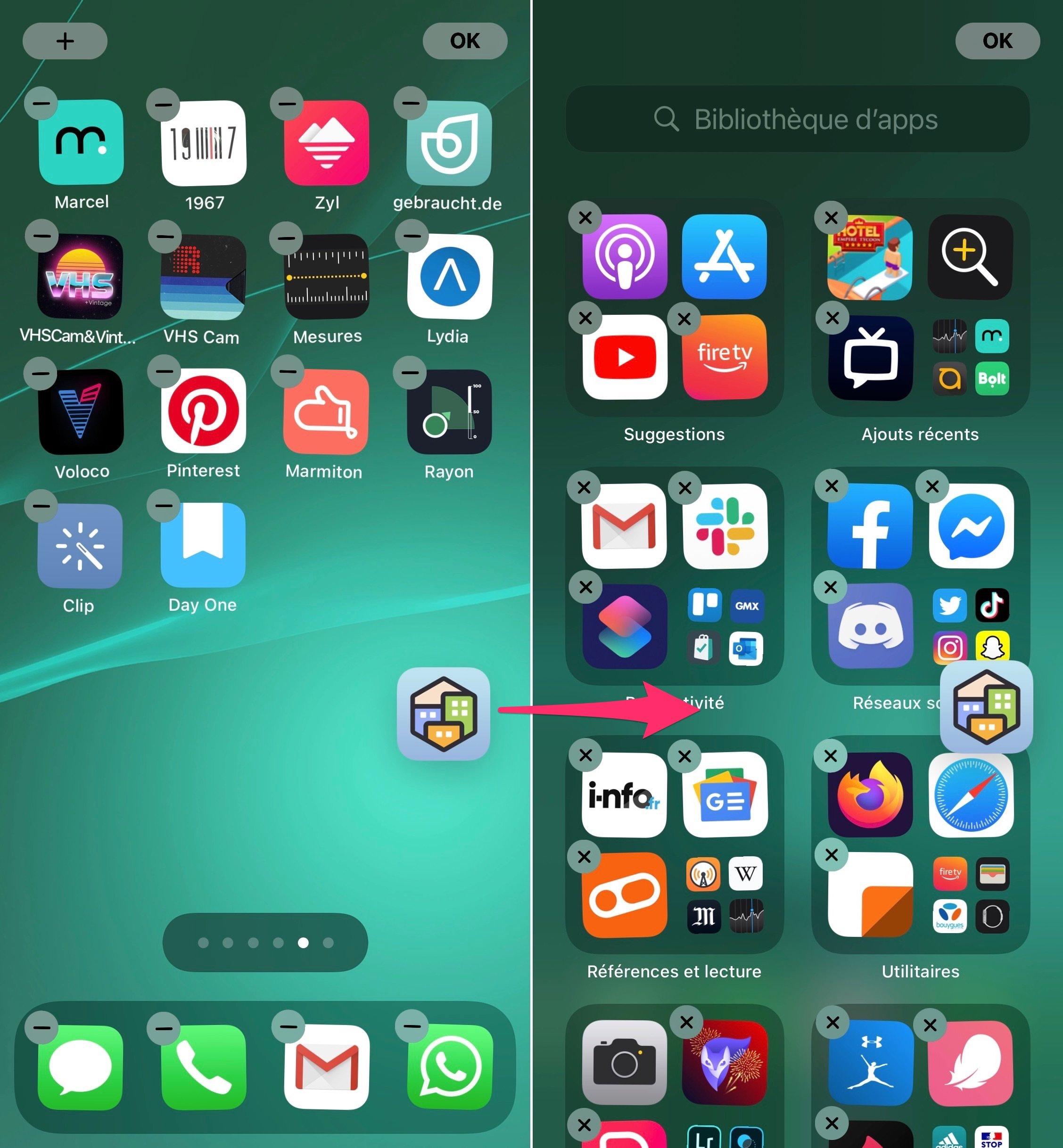 Glisser app bibliothèque d'apps