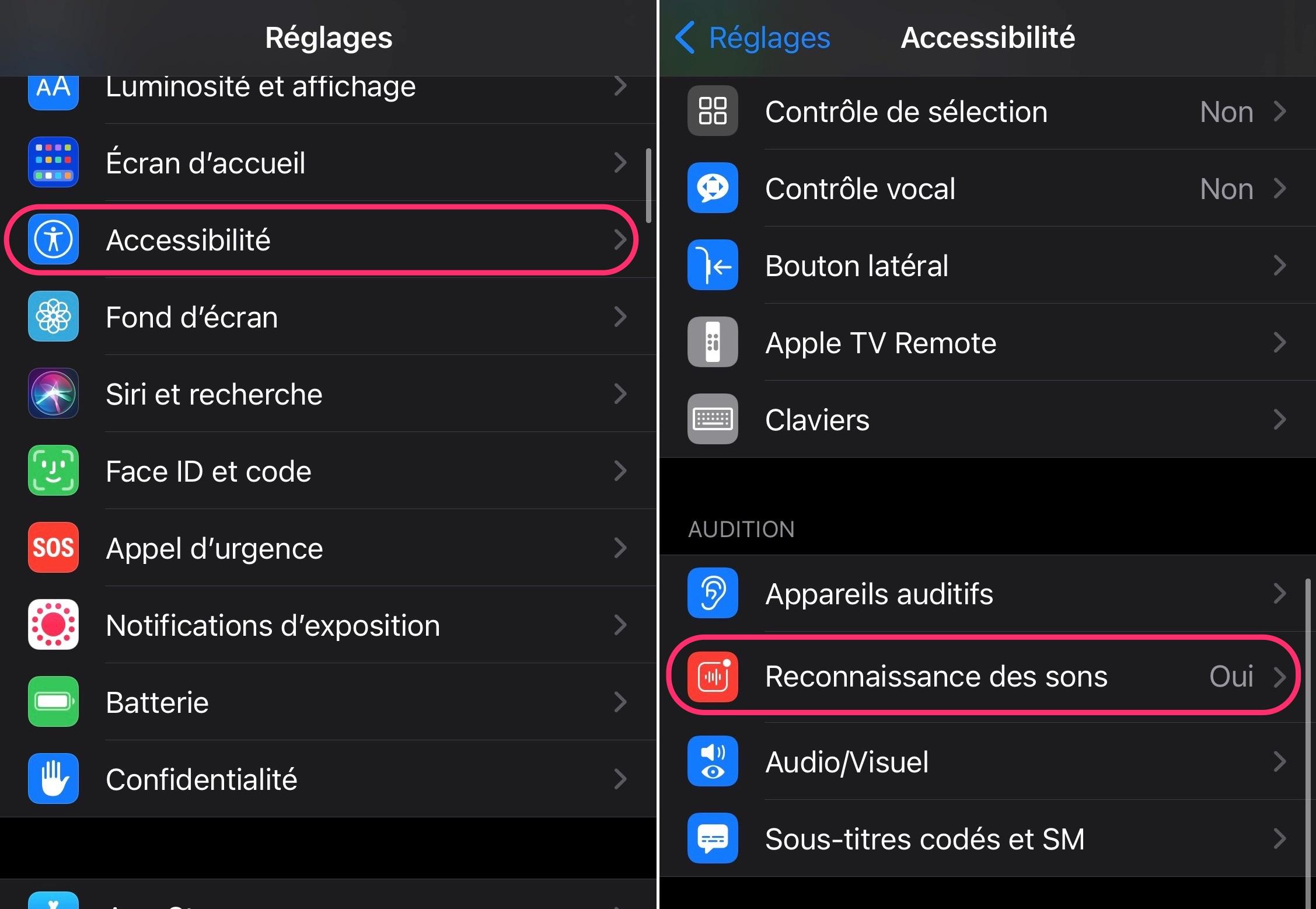 Accessibilité et reconnaissance des sons iOS 14