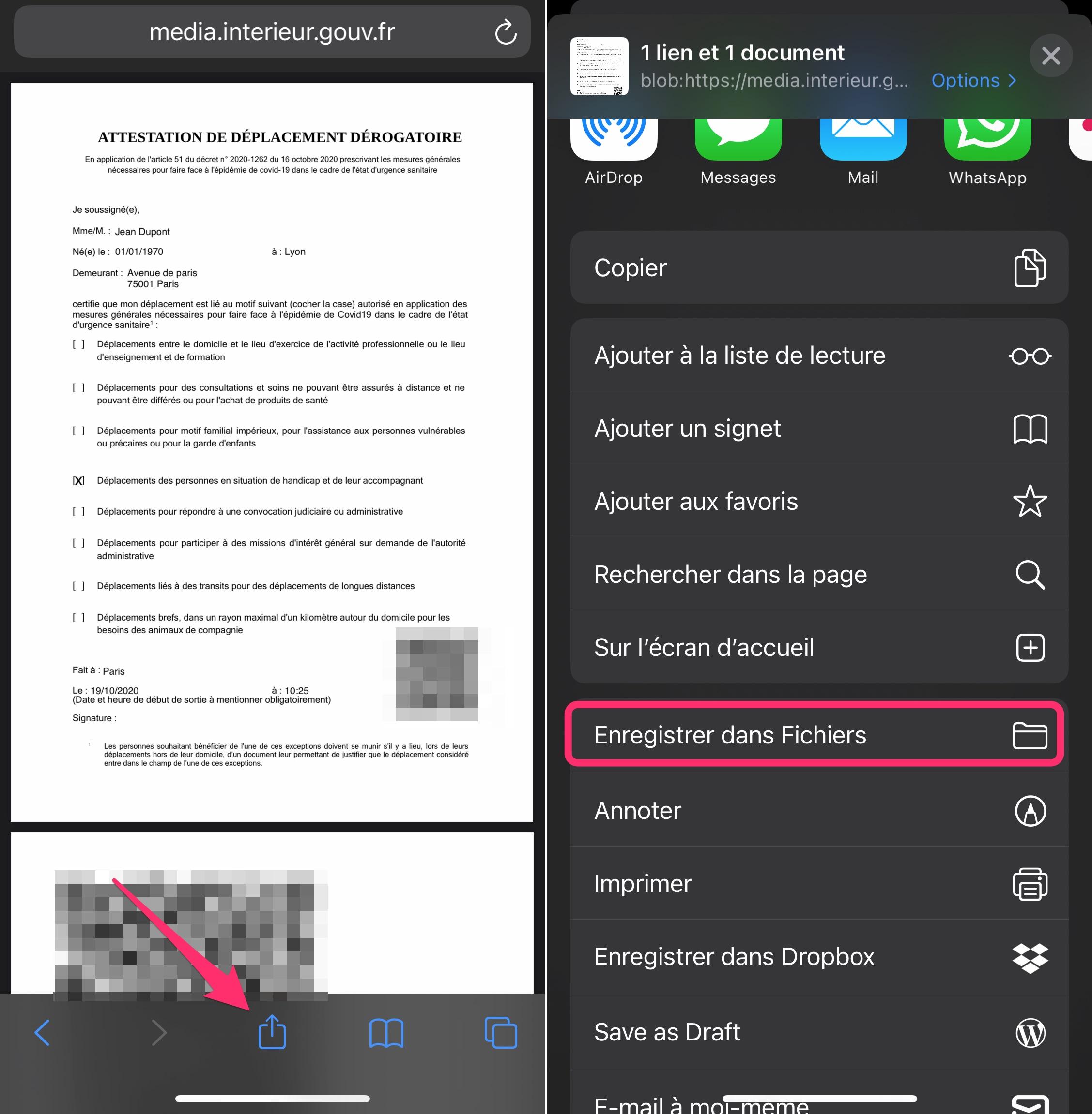 Télécharger attestation déplacement couvre-feu sur iOS