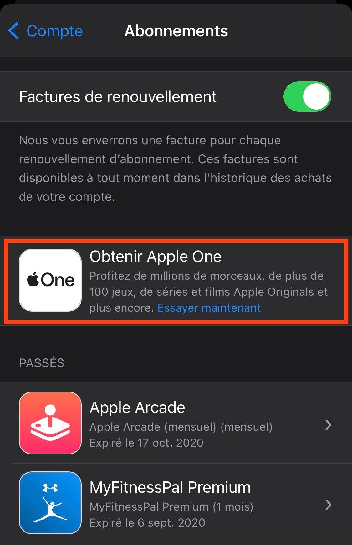 S'inscrire à Apple One
