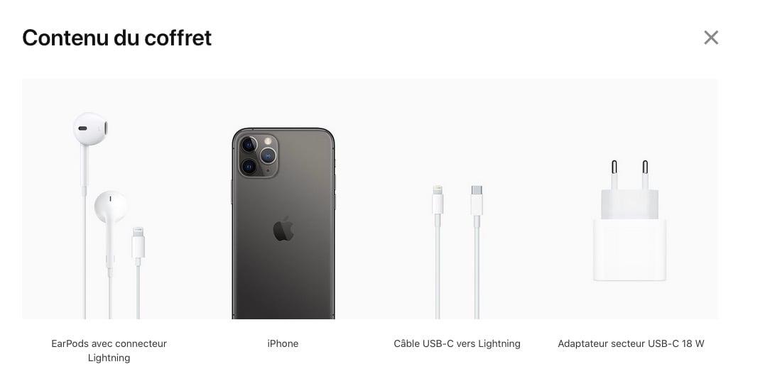 Contenu de la boîte d'un iPhone 11 Pro