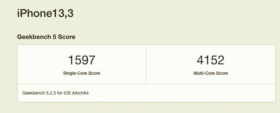 Score Geekbench iPhone 12