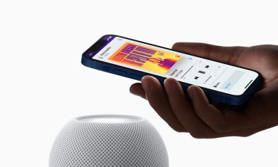 Apple HomePod mini blanc avec iPhone