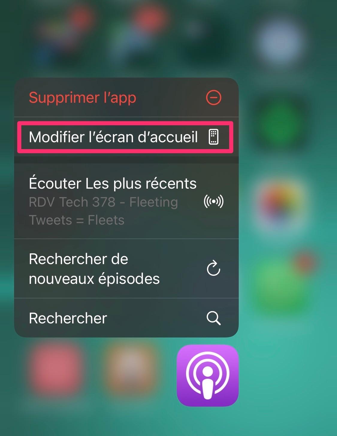 Modifier affichage page d'application