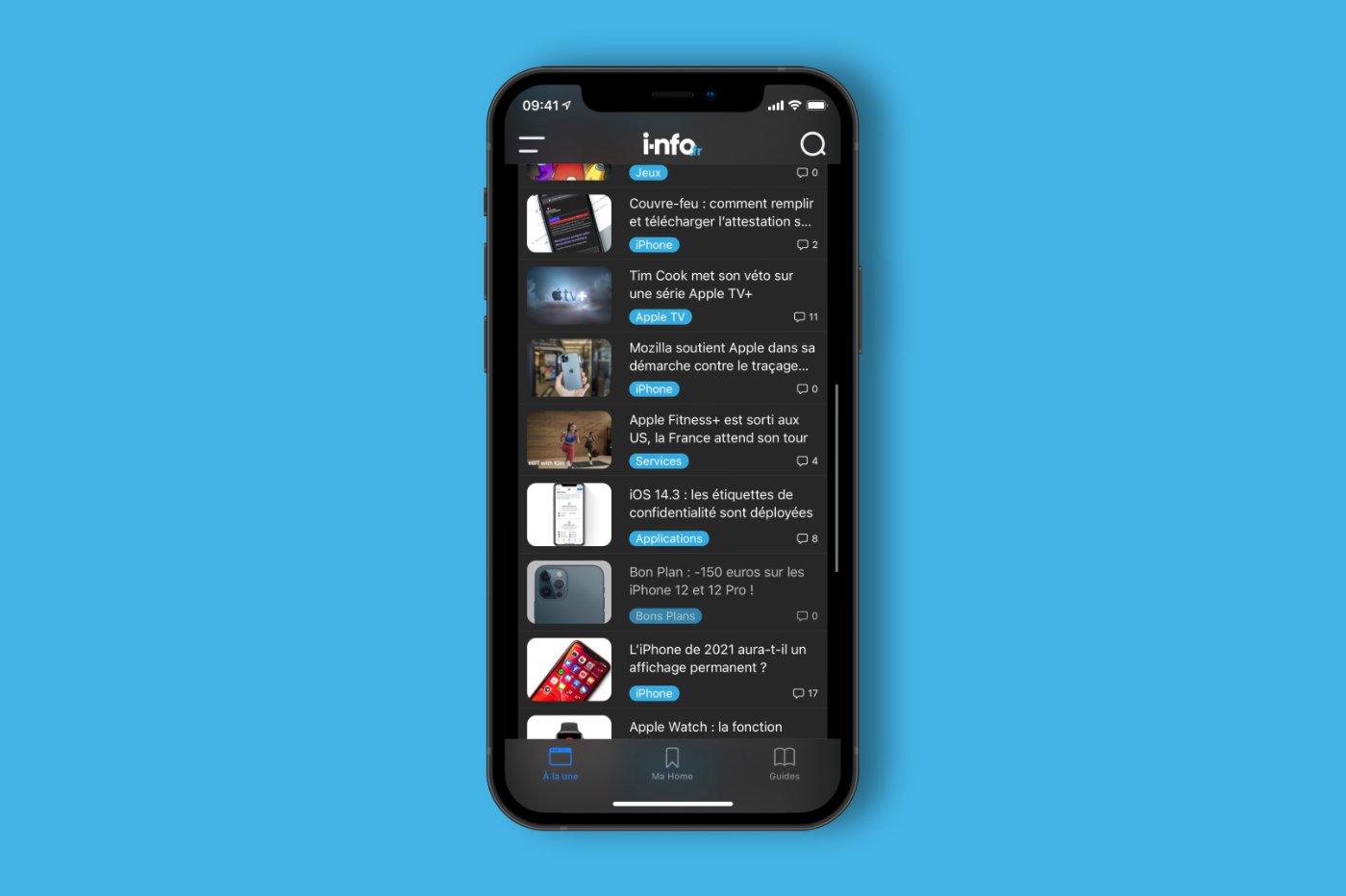 app i-nfo.fr sur iPhone Face ID