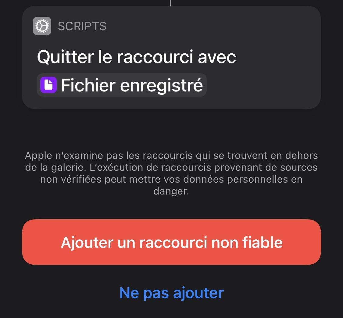 Téléchargement raccourci iOS