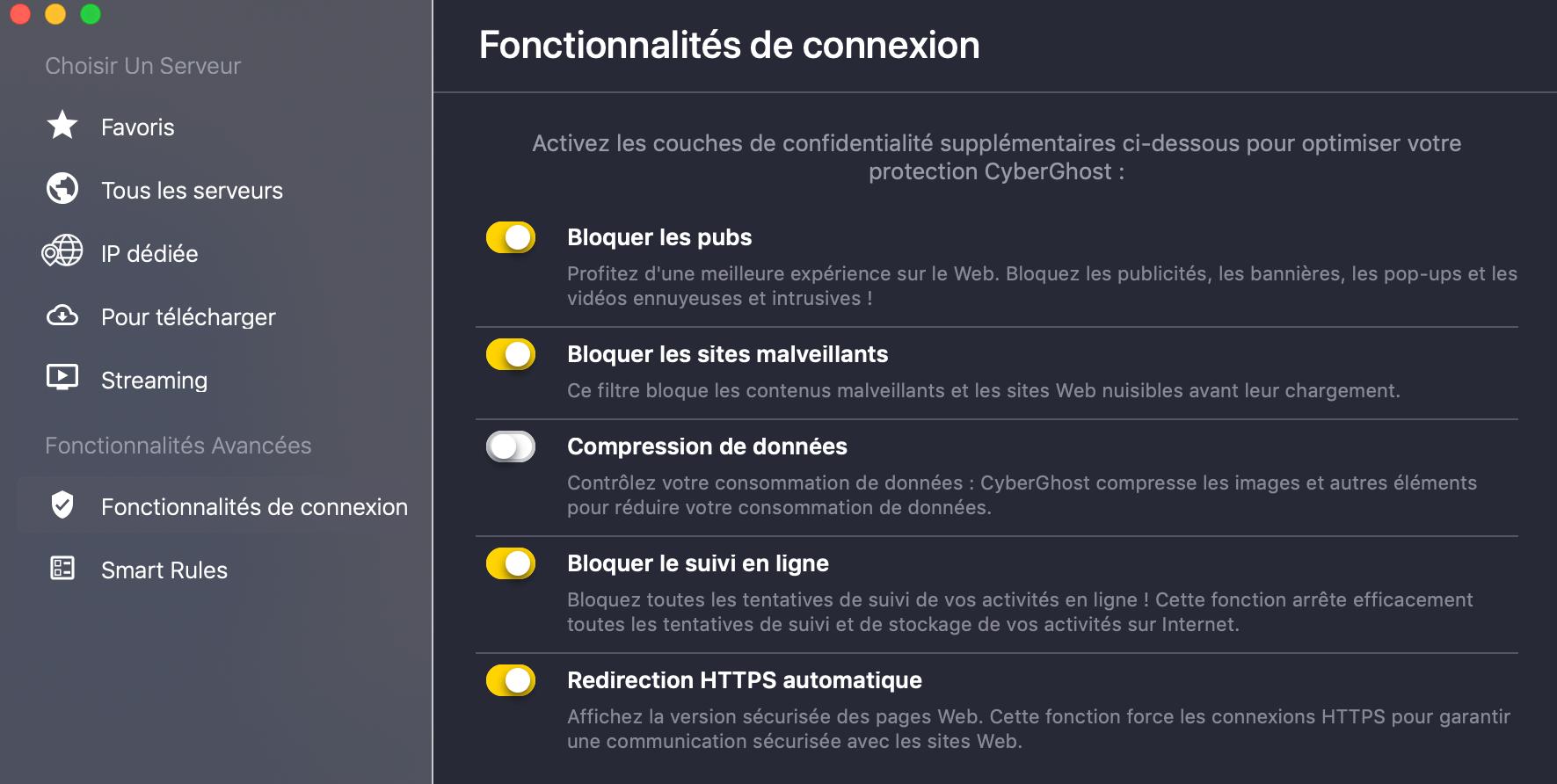 Fonctionnalites CyberGhost-VPN