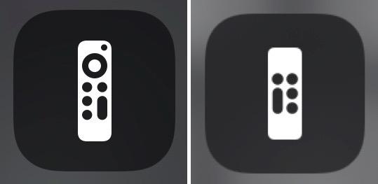 Télécommande Apple TV iOS 14.5 à gauche, iOS 14.4 à droite