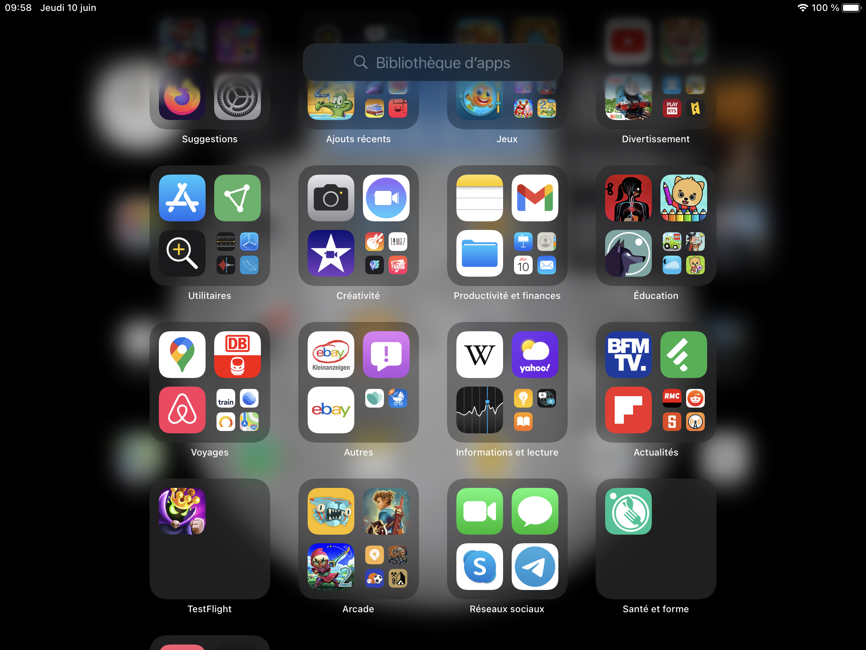 Bibliothèque d'apps sur iPadOS 15