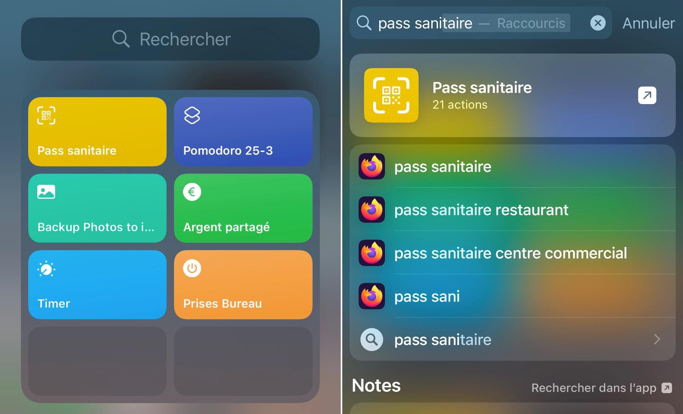 Raccourci iOS pass sanitaire