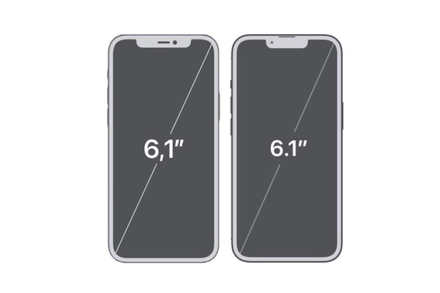 iPhone 12 à gauche, iPhone 13 à droite