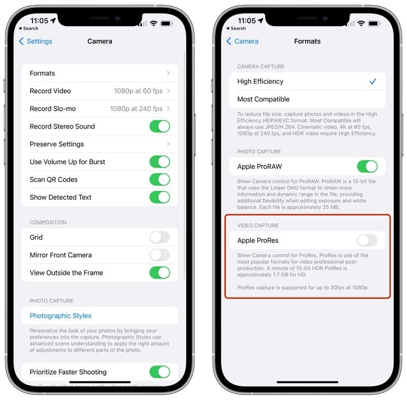Apple ProRes option iOS 15.1 bêta 3