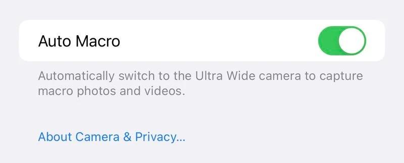 Auto-macro option iOS 15.1 bêta 3