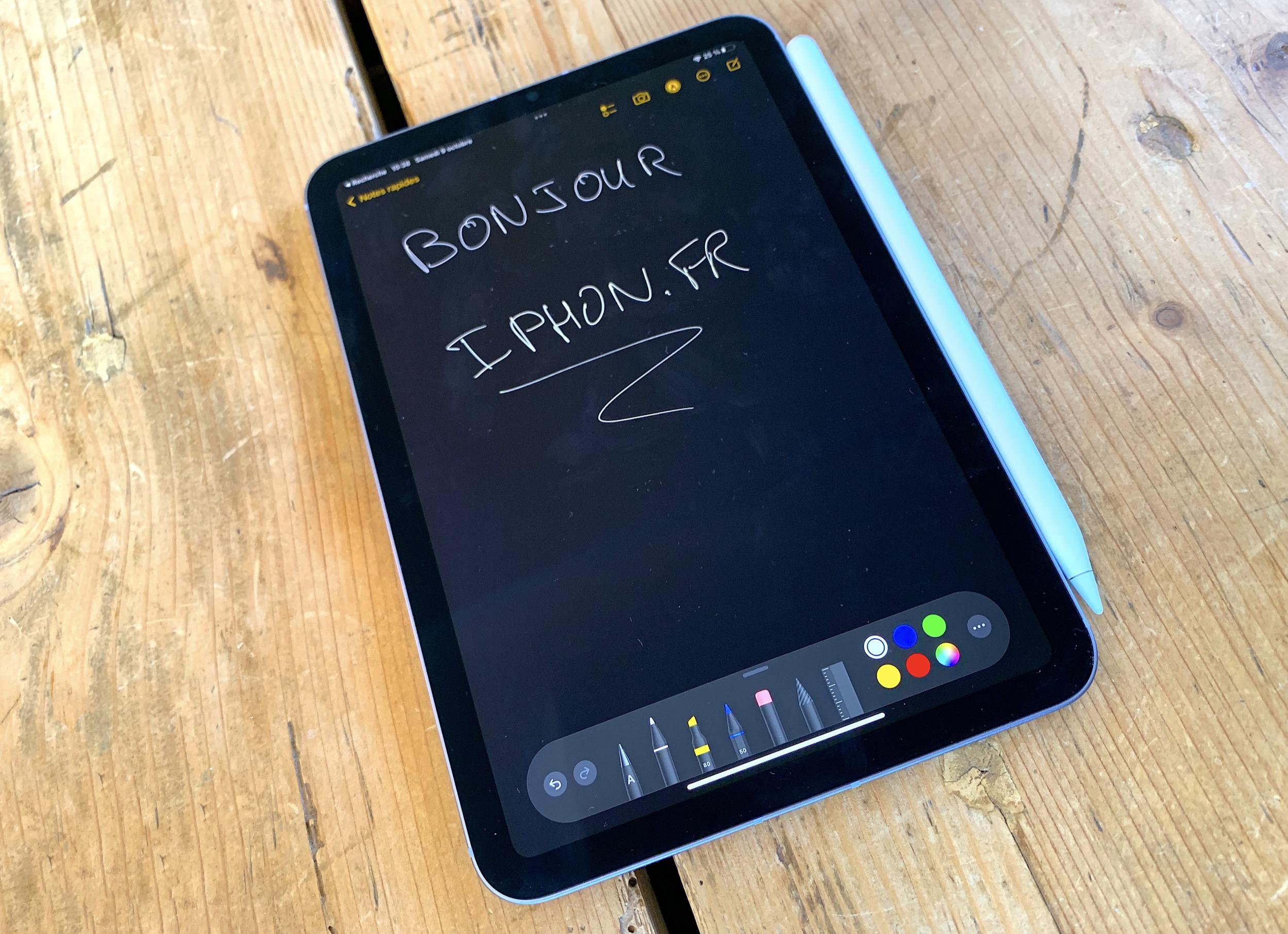 iPad mini 6 vue Apple Notes
