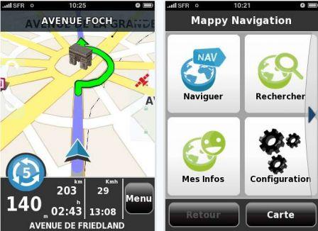 mappy lance son application iphone gps de guidage routier et pi ton iphone x 8 ipad et apple. Black Bedroom Furniture Sets. Home Design Ideas