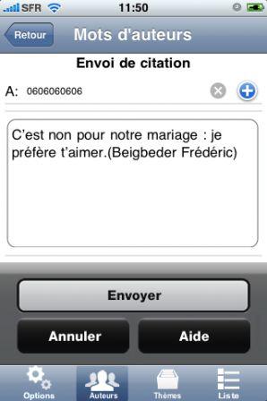 """application iPhone """" Mots d'amour """" proposera aux romantiques et"""
