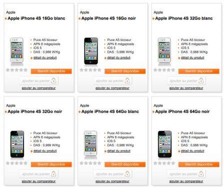 l 39 iphone 4s apparait sur le site d 39 orange ne manquent plus que les prix. Black Bedroom Furniture Sets. Home Design Ideas