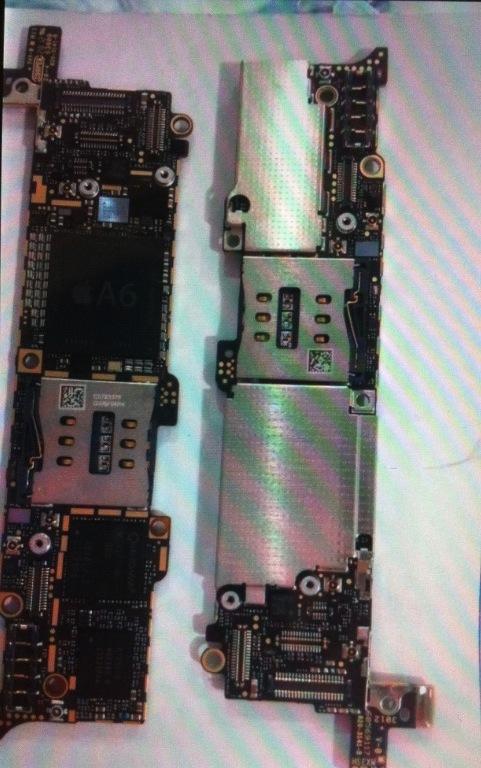 un processeur a6 sur la photo d 39 une carte m re iphone 5. Black Bedroom Furniture Sets. Home Design Ideas