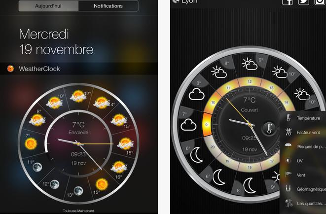 et voici le widget combo horloge et m t o gratuit pour iphone et ipad. Black Bedroom Furniture Sets. Home Design Ideas