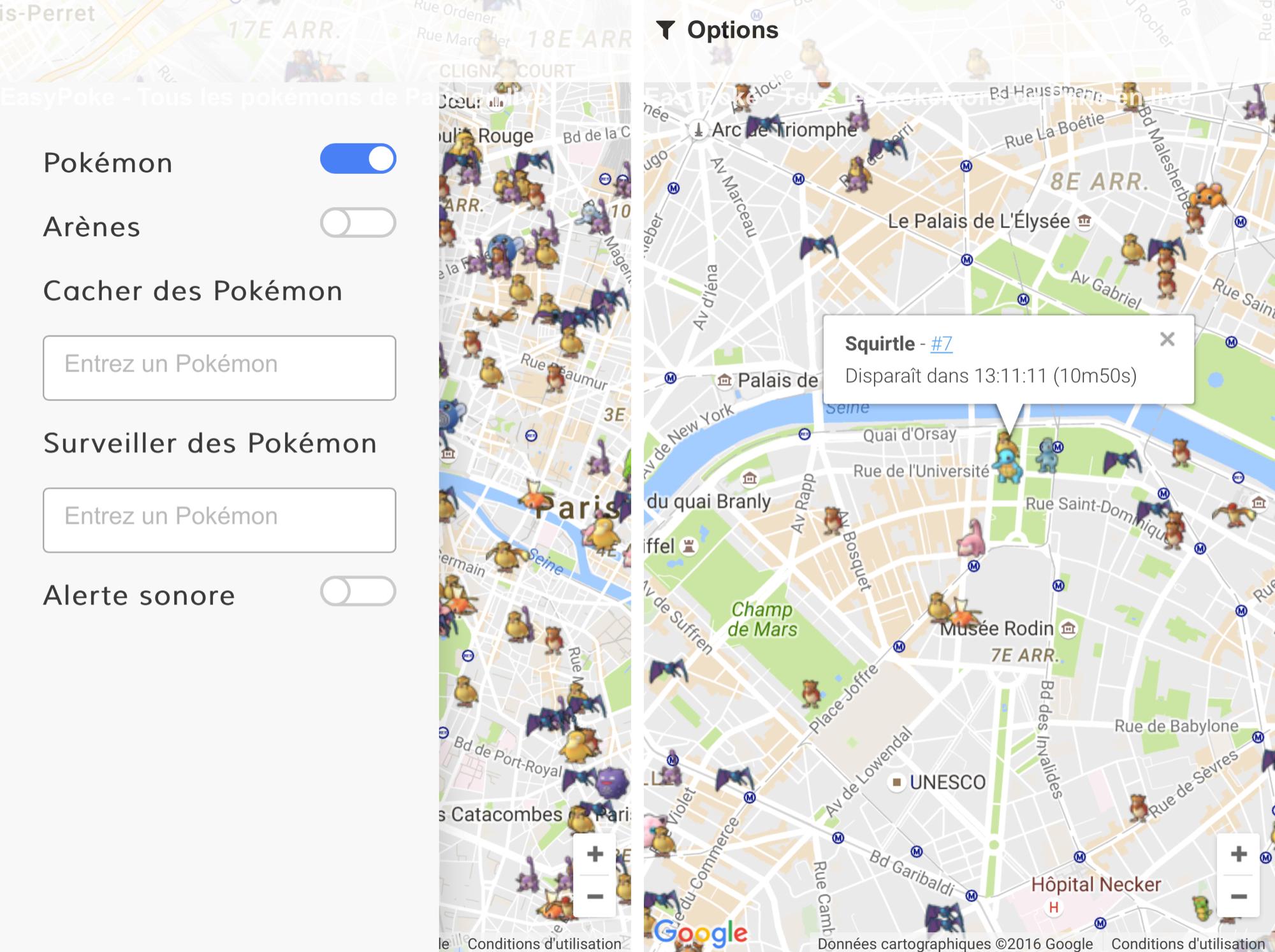 Pokémon GO : une carte en direct des Pokémon, Pokestop et arènes sur