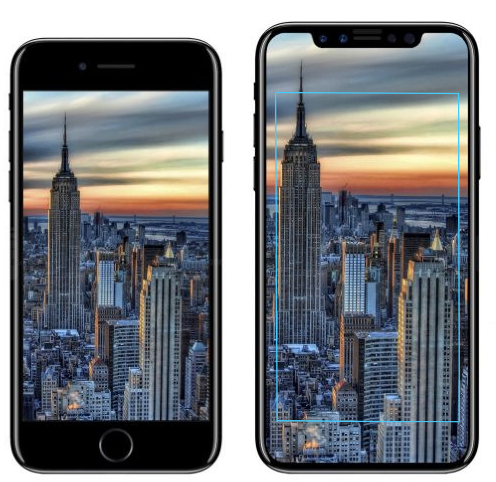 en images comment le grand cran de l iphone 8 se compare aux iphone 7 7 plus et 8 plus pour. Black Bedroom Furniture Sets. Home Design Ideas