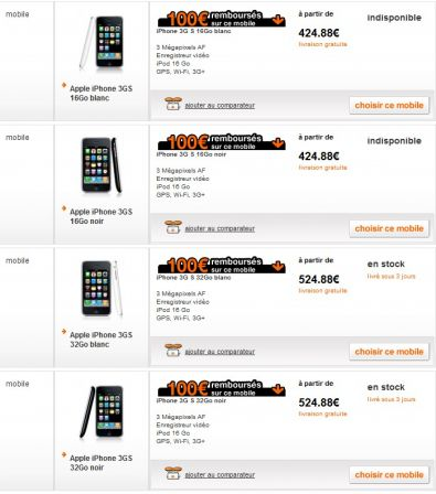 iPhone 3GS chez Orange