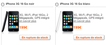 rupture de stock iPhone 16Go