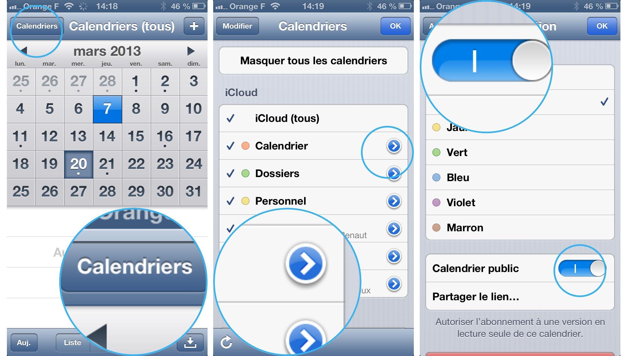 pratique ios partager ou rendre un calendrier public depuis l 39 iphone ou l 39 ipad. Black Bedroom Furniture Sets. Home Design Ideas