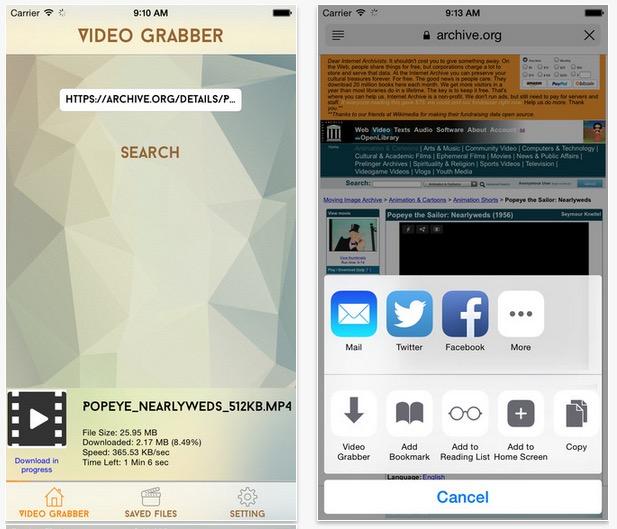 Video Grabber : une extension pour télécharger des vidéos directement depuis Safari iPhone/iPad