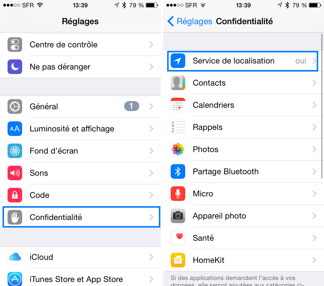 Activer ou désactiver le service de localisation pour des apps spécifiques