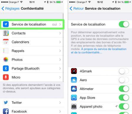 parametre localisation iphone 6 Plus