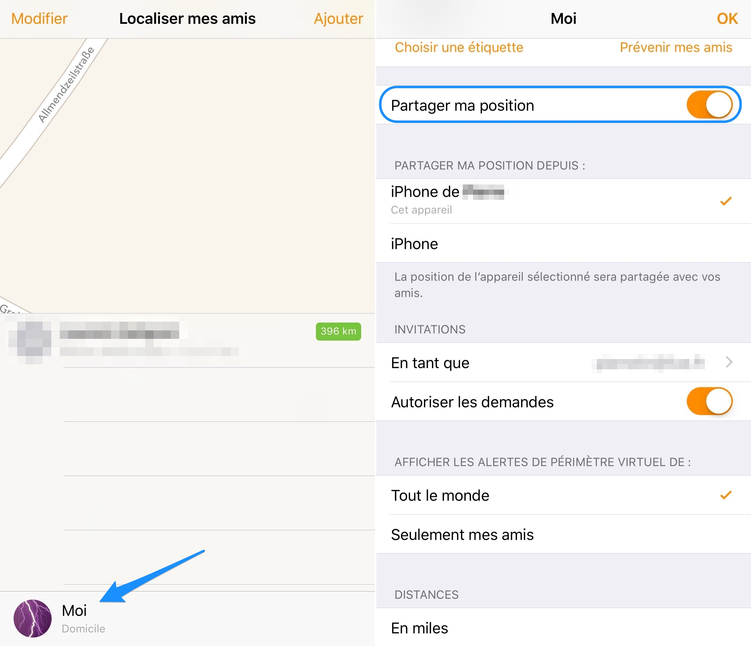 Configurer la fonctionnalité Localiser mon iPhone, iPad, iPod touch, Apple Watch et mes AirPods