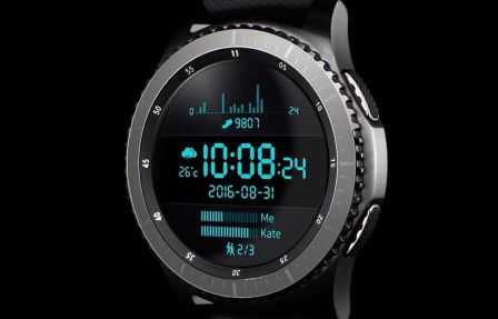 samsung sort sa montre smart gear s3 compatible iphone iphone x 8 ipad et apple watch. Black Bedroom Furniture Sets. Home Design Ideas