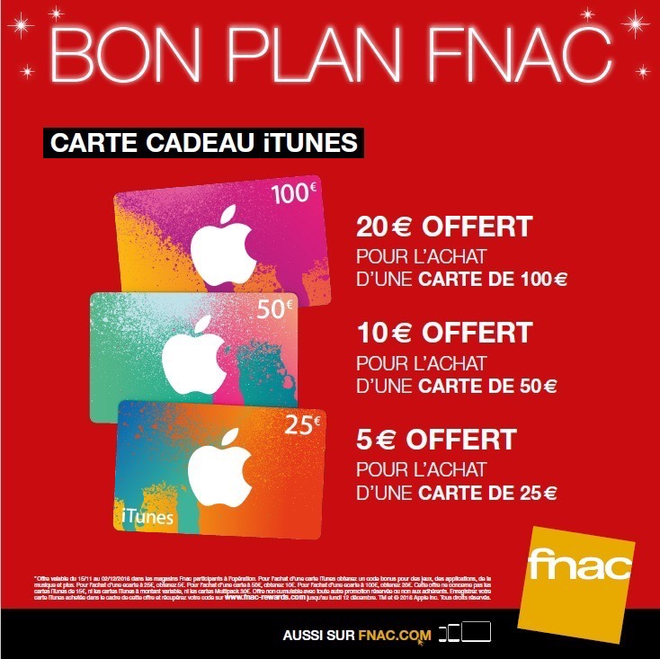 Carte Cadeau Fnac Contre Argent.Deux Operations En Cours Economies Sur Les Cartes Itunes