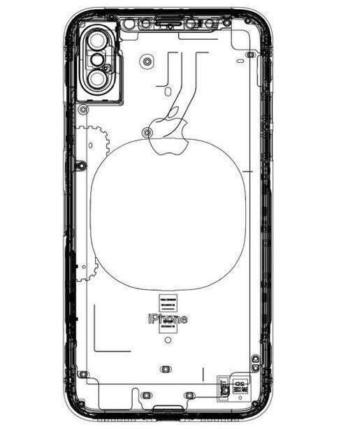 nouveau sch ma d 39 un iphone 8 avec emplacement pour la recharge sans fil cette fois ci. Black Bedroom Furniture Sets. Home Design Ideas