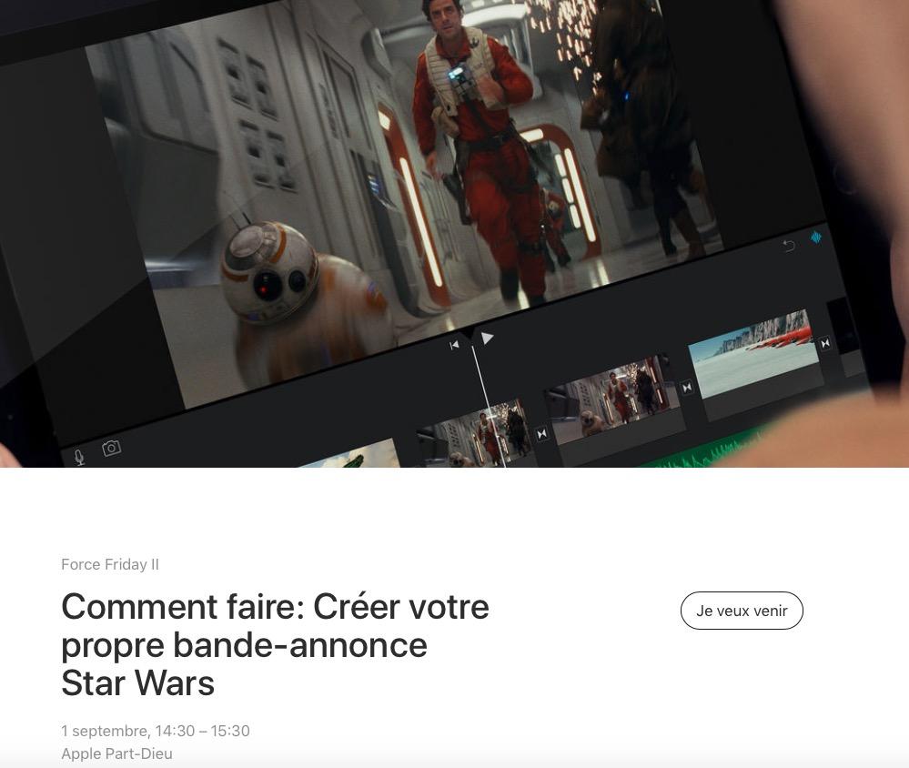 Pour La Semaine Star Wars Apple Organise Des Ateliers Thematiques