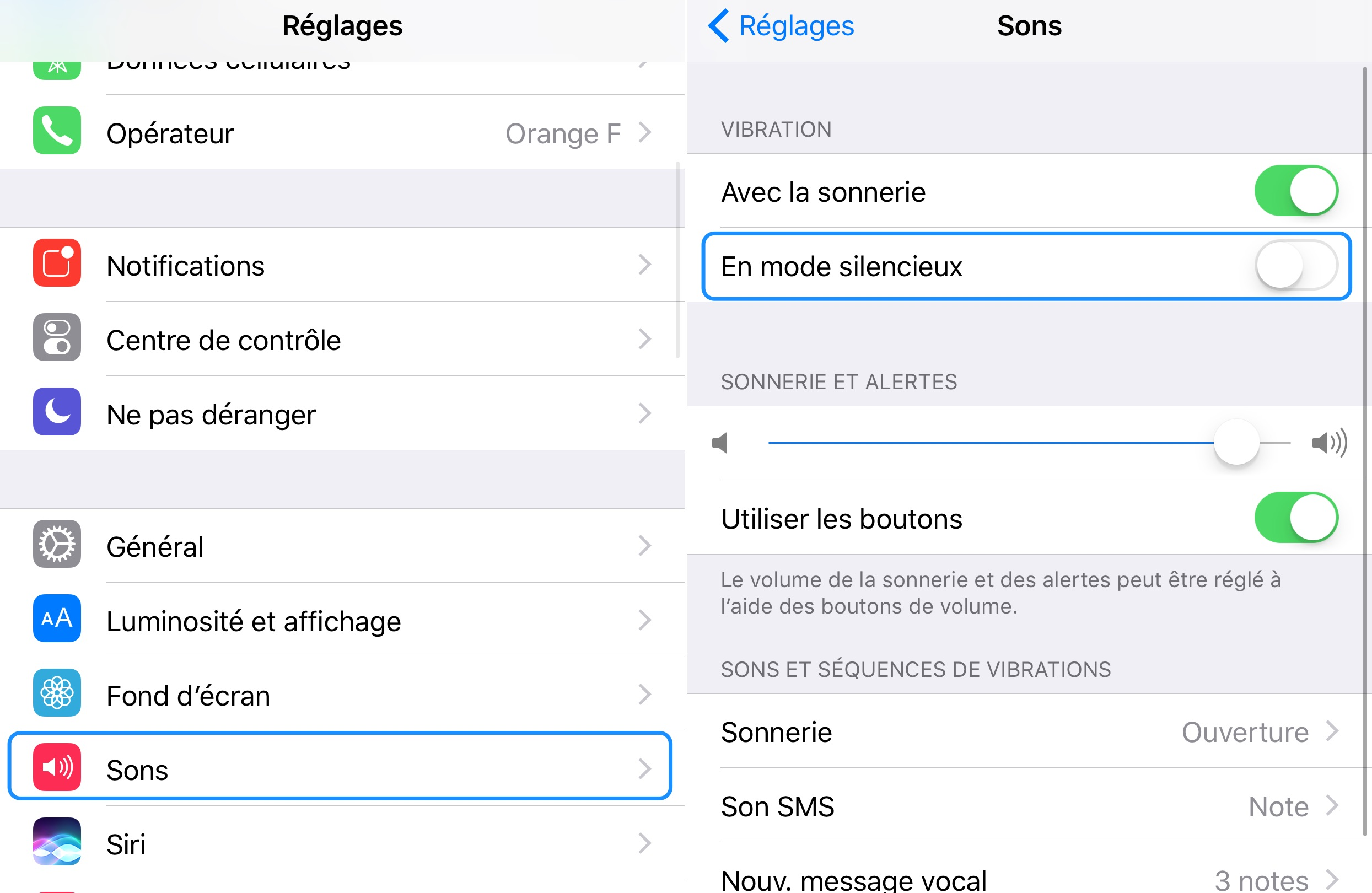une sonnerie silencieuse iphone