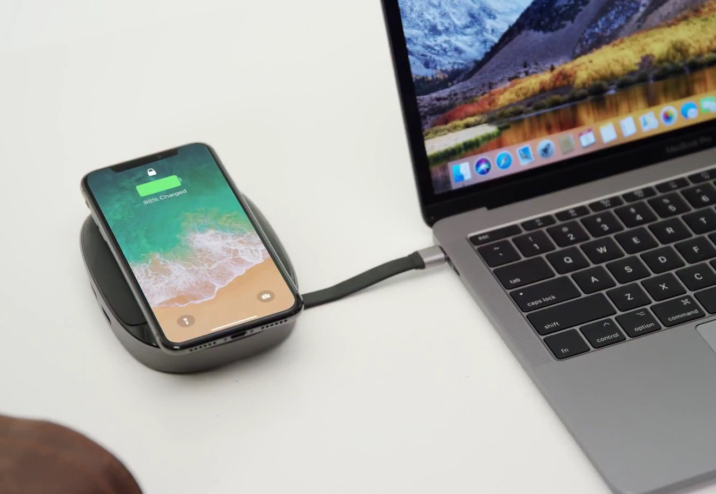 un hub mac tout faire 8 en 1 avec station de recharge sans fil 7 5 w pour iphone 8 et x. Black Bedroom Furniture Sets. Home Design Ideas