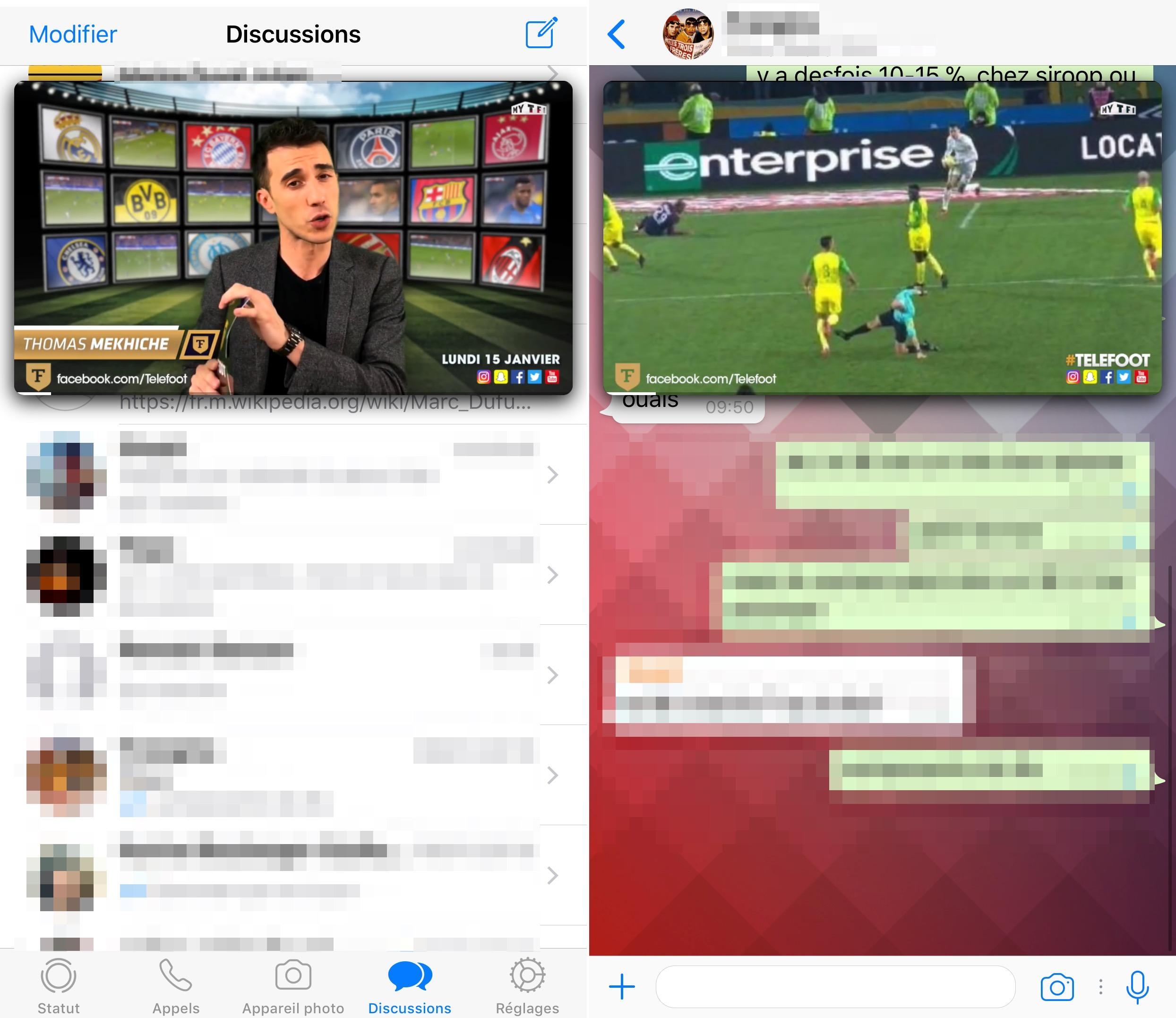 Whatsapp offre une vue picture in picture aux vid os for Fenetre volante