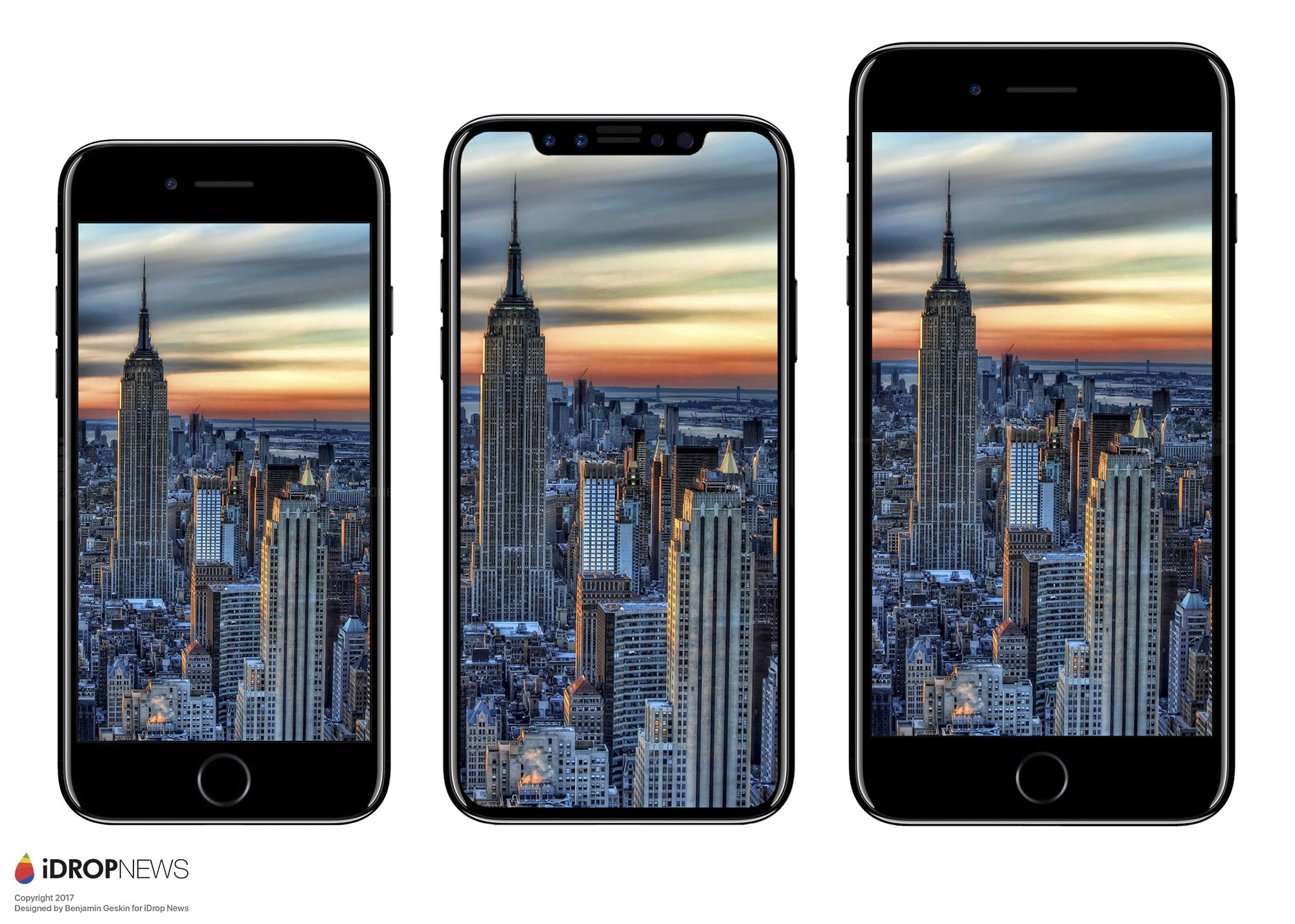 les dimensions de l 39 iphone 8 se confirment comparatif en images avec iphone 7 7 plus et. Black Bedroom Furniture Sets. Home Design Ideas