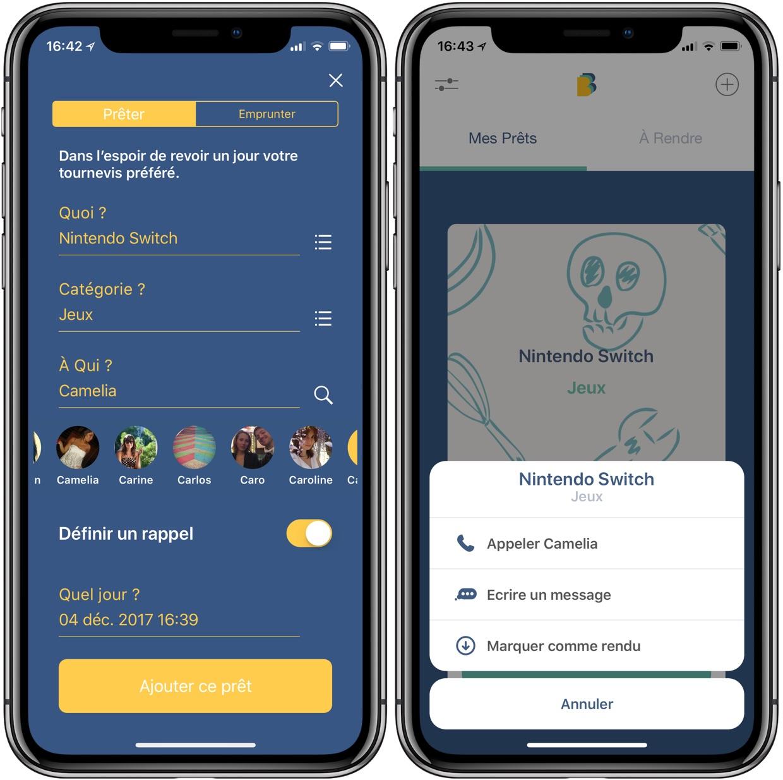 borrow une app fran aise pour suivre et r cup rer les objets pr t s et emprunt s sur iphone. Black Bedroom Furniture Sets. Home Design Ideas