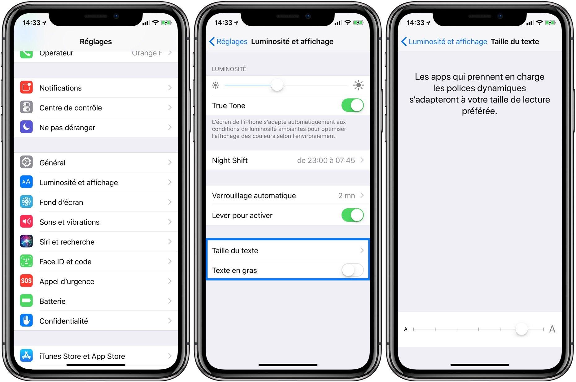 comment augmenter la taille des textes et les mettre en gras par d u00e9faut sur iphone  ipad  apple