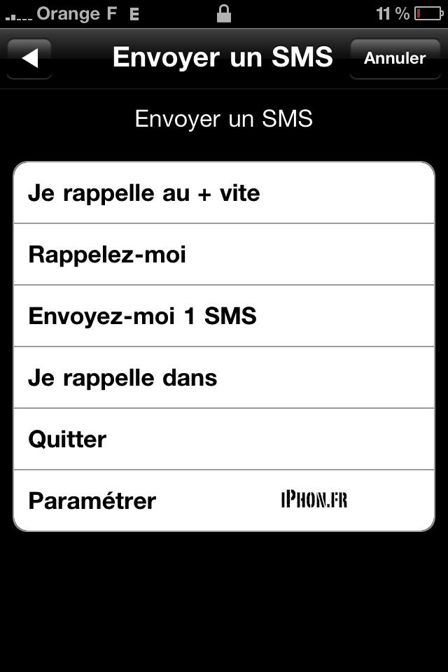 envoi sms automatique iphone