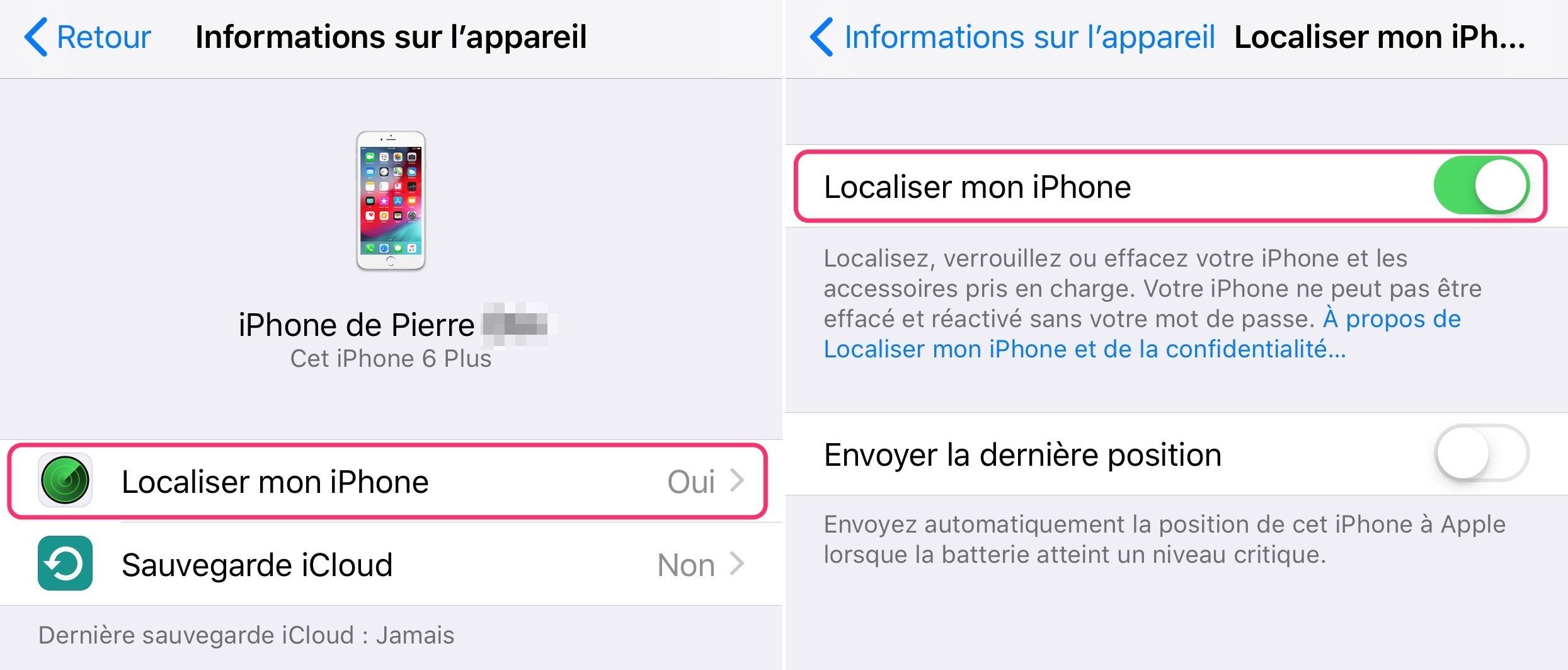 Localiser Mon Iphone Reglage