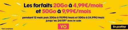 Dernier jour promos forfaits Sosh: 20 Go + illimité à 4,99€ et 50 Go à 9,99€ mensuels 2