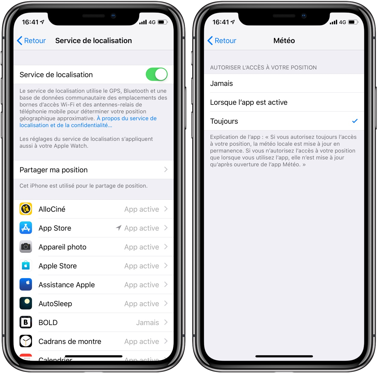 localisation toujours active iphone 8